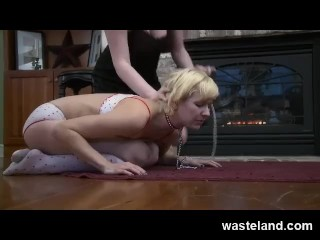 Blonde submissive Sex Slave treated like Dog and played with by FemDom
