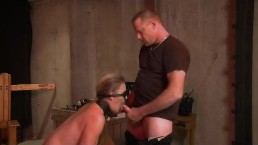 Pretty Blonde submissive sex slave Tied up and made to suck cock