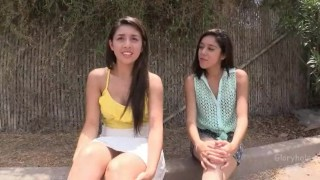 Two gloryhole visit latina teens in brunette