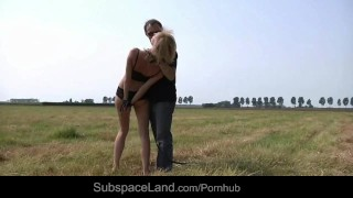 Blonde field marina tiedup the fucked and on cumshot tied