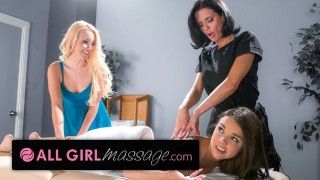 Screen Capture of Video Titled: All Girl Massage teen Eats MILF Pussy at Oily threesome