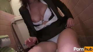 wife masturbating fat pussy in work bathroom