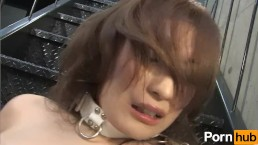 肌がきれいなむっちりお姉さんが階段で四つん這いでおまんこを弄る
