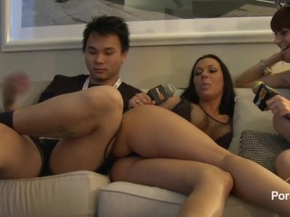 Preview 3 of PornhubTV Rachel Starr in Bed with Coco and Kong! 2014 AVN
