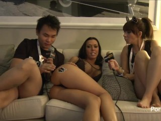 Preview 5 of PornhubTV Rachel Starr in Bed with Coco and Kong! 2014 AVN