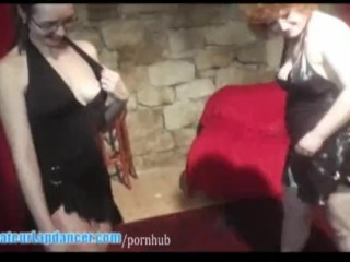 Two girls are doing sexy BJ and lapdance