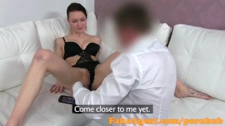 FakeAgent Hot brunette wearing sexy lingerie gets Creampie in Casting