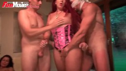 FunMovies Chubby German amateur slut and girlfriend gangbang