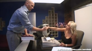 Hot Secretary With Huge Boobs Fucks In The Back Office Teenager big