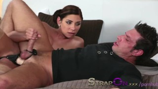 StrapOn Rachel Evans taking much delight in pegging a man  female orgasms sex-toy natural strapon oral-sex kissing dildo female-friendly strap-on sensual ass-fuck orgasms natural-tits czech ass-fucking babes romantic
