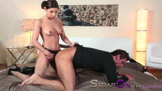 StrapOn Rachel Evans taking much delight in pegging a man  dildo sensual babes natural oral sex female friendly orgasms strapon strap on sex toy romantic kissing ass fuck female orgasms natural tits ass fucking czech