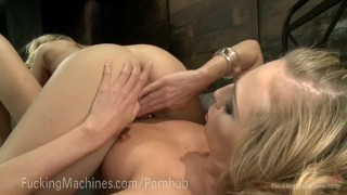 Epic Cumming From Sex Machines  big tits squirt dildo blonde fetish kink pussy fuck kinky lesbian sex orgasm fuckingmachines girl on girl hitachi robot machine