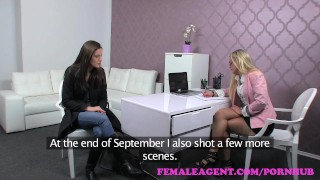 Femaleagent up sexually slim beauty casting oiled in charged girl blonde