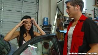 Broke Teen Fucks Her Mechanic In The Garage