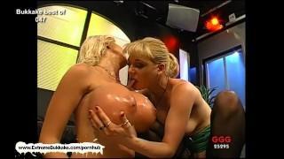 Melanie and her friend clean each other's jizzed faces with their tongues