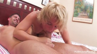 Babe fucked blonde gets hard bj in