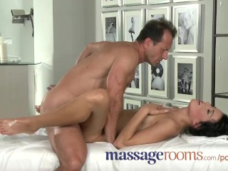 Massage Rooms Cute girls with small tits have oily G-spot orgasms