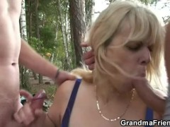 Granny is double fucked near the lake