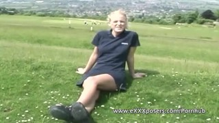 British blonde outdoors flashes panties Licking riding