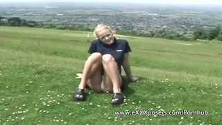 Flashes british outdoors panties blonde petite small