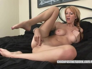 Busty coed Addison Riley is finger banging her twat