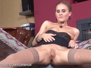 Long legged Russian blonde doing leg fetish masturbation in stockings
