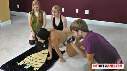 3 Sexy girls play strip dice