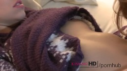 Kissing HD Apres-ski snogging session for horny young babes in panties