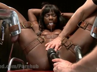 Hogtied Tube — Gorgeous Ebony Model Hogtied