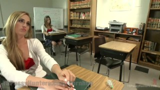 Two Hotties Fuck In Detention 3some deep