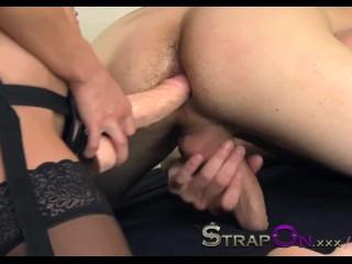 StrapOn Sexy babe fucking her boyfriend ass with strapon dildo