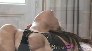 StrapOn His ass is fucked by his beautiful girlfriend  strap on ass fuck female orgasms natural strapon kissing dildo femdom fetish sensual orgasms romantic adult toys oral sex sex toy female friendly