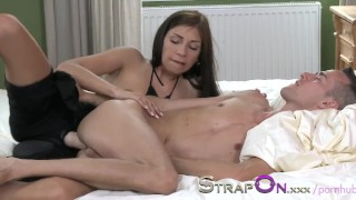 StrapOn His ass is fucked by his beautiful girlfriend dildo sex-toy strap-on sensual natural femdom ass-fuck orgasms strapon oral-sex romantic kissing female-orgasms fetish female-friendly adult-toys