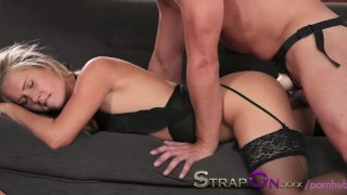 StrapOn Romantic double penetration love making with strapon dildo Sex fetish