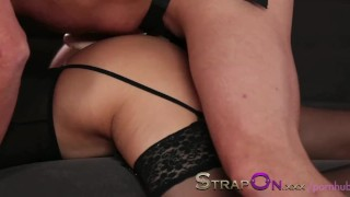 StrapOn Romantic double penetration love making with strapon dildo  strap on natural strapon babe kissing dildo small tits czech dp romantic sensual oral sex orgasms sex toy female friendly female orgasms