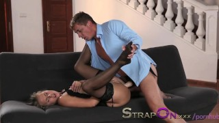 StrapOn Romantic double penetration love making with strapon dildo Nasty rough