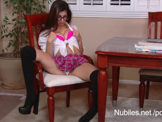 Nerd Monster Cock Perky tit teen Ava Taylor plays naughty schoolgirl