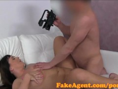 Fakeagent Pretty Guiltless Black-haired Pounded In Audition Interview