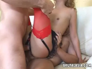 Kat is demolished by two giant cocks