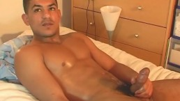 Middle-east guy gets wanked his huge cock by a guy !