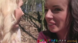 Girlfriends in yoga pants go out in public and fuck in the woods