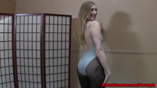 Laci Star gets cum on her pantyhose and helps you jerk off FEMDOM  cum on feet femdom upskirt cei pantyhose kink foot fetish petite nylons leotard sweetfemdom foot worship cum eating dirty feet tights jerk off instruction