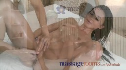 Massage Rooms Black haired girl has her tight hole oiled and stretched