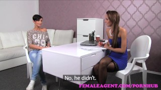 FemaleAgent. Big breasts make agent wet with desire