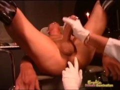 Sexy Dominatrix Squeezes Guys Balls and Fingers His Ass