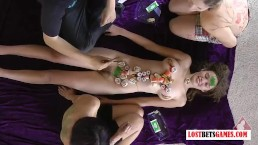 3 Cute girls play a memory game, loser strips