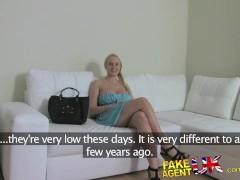 FakeAgentUK Huge natural tits Euro babe fucks agent for promise of cash