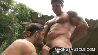 Yuri Bryan and Junior Pavanello: Military Muscle Guys Outdoor Sex