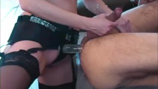 Pegging Bling! Canada's ShandaFay Fucks A Man With Her New Strapon!  strap on ass fuck lick cum big tits femdom strapon lingerie dildo canadian cumshot fetish toys milf shandafay kink heels stockings canadian milf femdom pegging huge tits