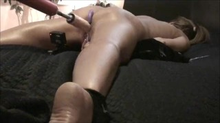 WIFE CUMS HARD! Spread Eagle Fuck Machine Anal Beads *as requested